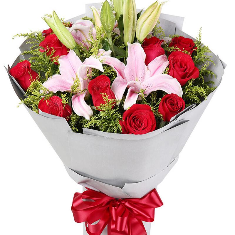 与你相守:11朵红玫瑰,2枝多头粉百合,搭配黄莺。_鲜花-中国鲜花快递网