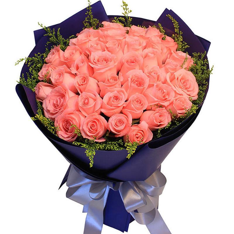 用心守望:33朵粉玫瑰,黄莺围绕。_鲜花-中国鲜花快递网