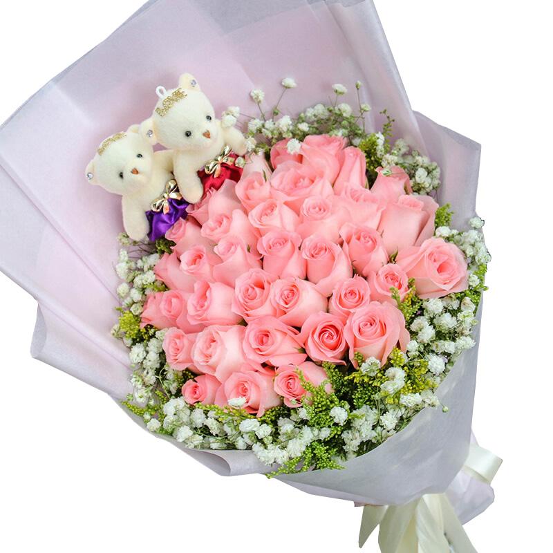 相爱永恒:33朵精品粉玫瑰,黄莺、满天星外围丰满环绕,随机赠送2只可爱_鲜花-中国鲜花快递网