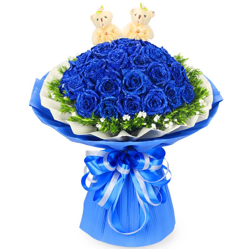 花好月圆:33朵蓝玫瑰,外围相思梅环绕,随机赠送两只小熊。_鲜花-中国鲜花快递网